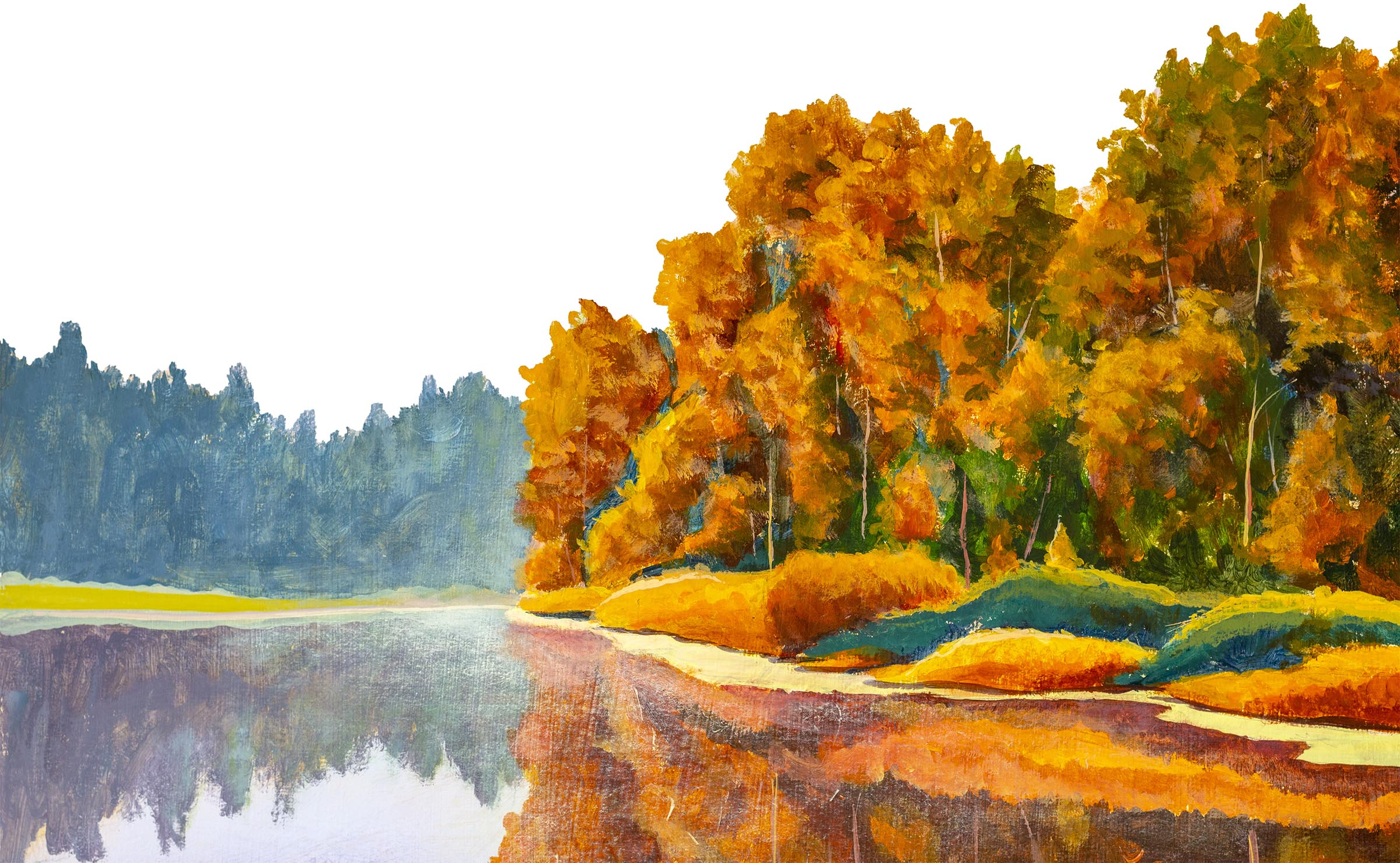 Original on painting on canvas by artist Autumn on river. Lake landscape nature fine art
